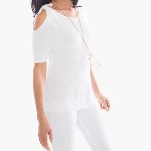 NWT Chico's White Knit Cold Shoulder Top Size 0 S